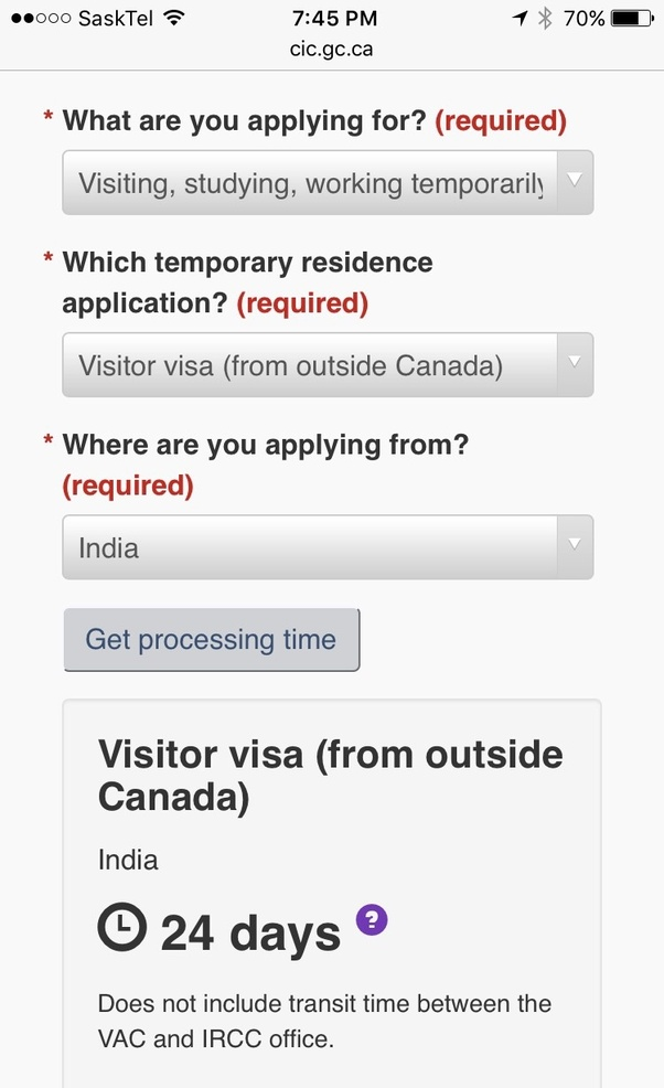processing time for pr application canada