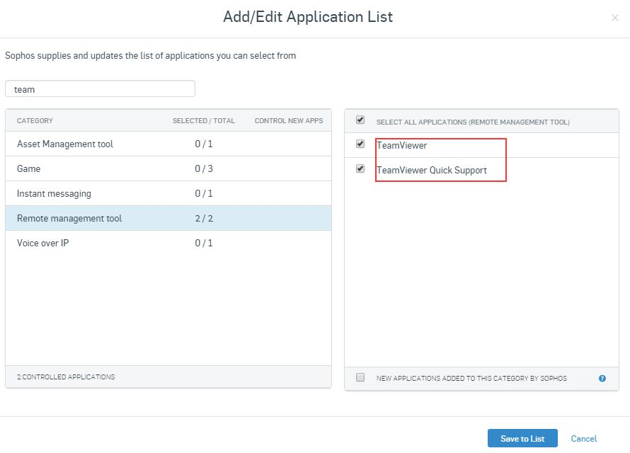controlled application blocked by sophos