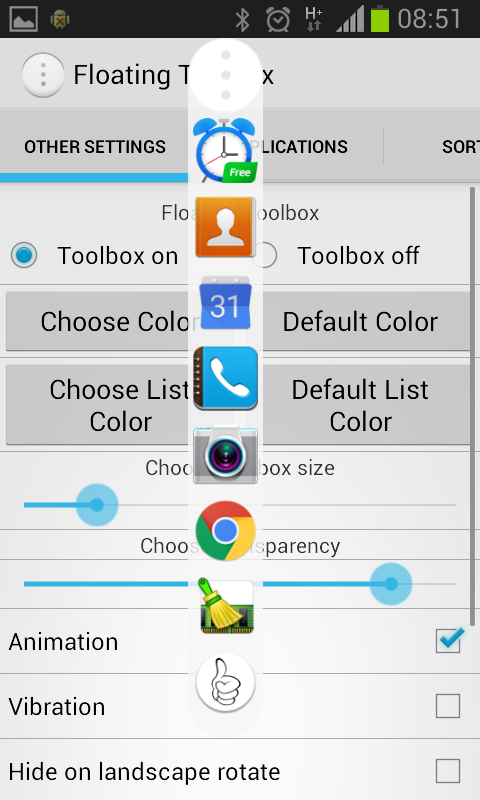 android hide apps from application list